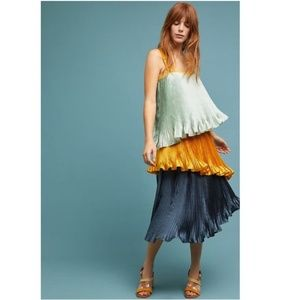 NEW Anthropologie PLEATED COLORBLOCK DRESS
